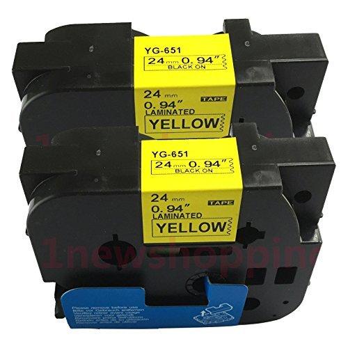 Neouza - Nastro adesivo laminato TZe TZ compatibile con Brother P-Touch, 24 mm x 8 m. Black on Yellow