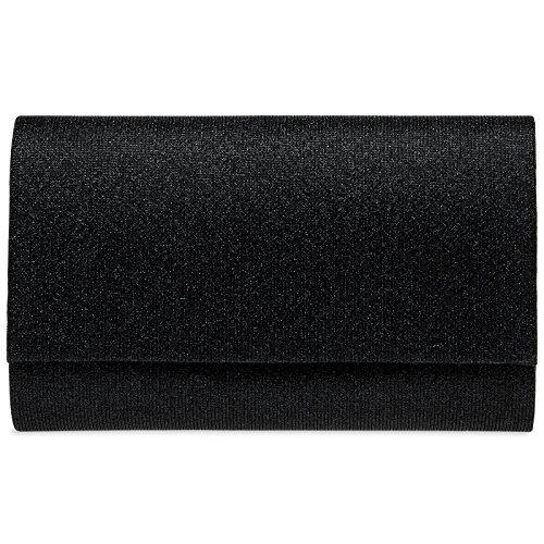 Schwarze Clutch (CASPAR TA400 Damen elegante Glitzer Stoff Envelope Clutch Tasche/Abendtasche mit langer Kette, Farbe:schwarz;Größe:One Size)
