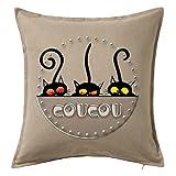 Housse de Coussin Décorée 50X50 cm 100% Coton Coucou Chats (Beige)...