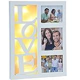 Beleuchteter Bilderrahmen aus Holz für 3 persönliche Fotos mit 10 warm-weißen LEDs • LED Collage Geburtstag Hochzeit Fotorahmen Weiß Love Rahmen