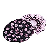 2 Pack Women Waterproof Shower Cap Double Layer Bath Cap Elastic Band Spa Shower Hat
