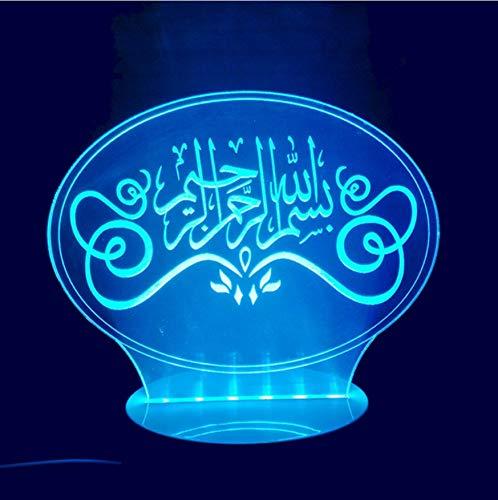 3D Led Nachttischlampen 7 Farben Kinder Schlafzimmer Leuchte Dekor Neuheit Visuelle Islamische Muhammad Gott Allah Segnen Arabische Zitate Schreibtischlampe