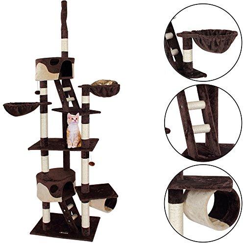 Deuba CADOCA® Katzenkratzbaum 175 cm I Stabiler Kratzbaum Höhenverstellbar I 2 Katzenhöhlen 2 Liegemulden I Katzenbaum Katze Katzenspielzeug I - Braun-Beige -
