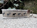 Schlüsselanhänger Schlüsselband Wollfilz hellgrau Elche beige schwarz Geschenk!