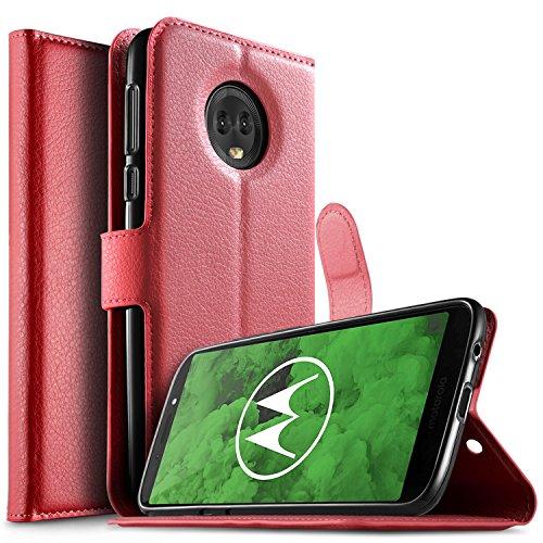 Preisvergleich Produktbild KuGi Moto G6 Plus Hülle,  Moto G6 Plus Wallet Case,  Brieftasche Case Hülle PU Kunstleder Flip Case mit Standfunktion Kartenfächer und Bargeld für Moto G6 Plus Smartphone.Rot