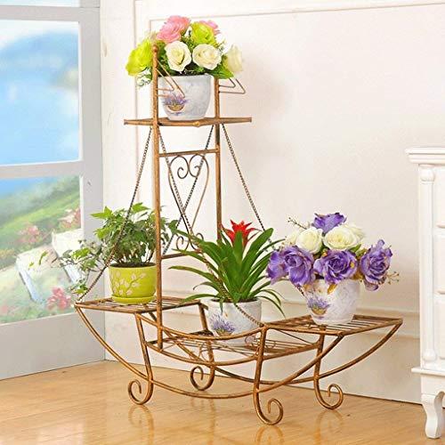 IU Desert Rose Étagère de balcon Iron Art European Fa hion hanche Type Flower Pot Rack Intérieur et Extérieur Multi - Torey Ru t-proof (4 couleurs) (Couleur: Bronze Vert, Taille: 76 * 24 * 74cm)