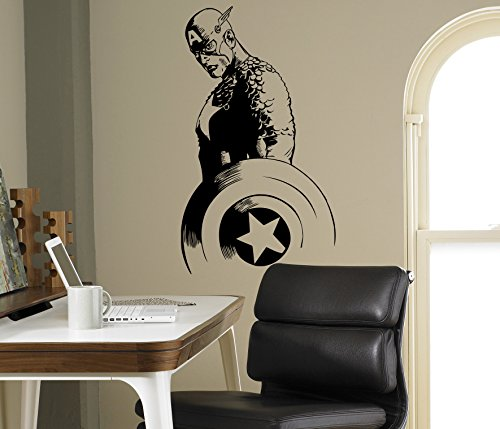 Captain America Wand Aufkleber Avengers Vinyl Aufkleber Comics Home Interior Kinder Art Decor Ideen Schlafzimmer Kinder Abnehmbare Design 6(Gap) -