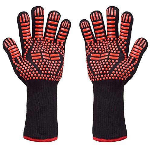 YZCX 2er Set Grillhandschuhe Backhandschuhe Ofenhandschuhe BBQ Handschuhe Rutschfeste bis 500 °C hitzebeständig mit Extra Langem 15cm Bund für Barbecue Küche Backofen Mikrowellenherd (Rot)