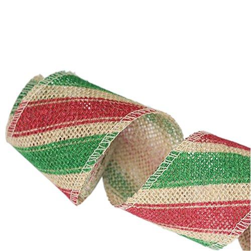 red & green shinny Chevron-Design auf beige Leinwand Handwerk Bandrolle, 2,4-Zoll-2 Yard