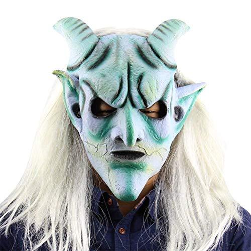 Langes Haar Silber Hupe König Perücke Maske Halloween Latex Horror Geist Maske Weihnachten Kostüm Requisiten - Wie Bilder Gezeigt, 1 pc (Non Pc Kostüm)