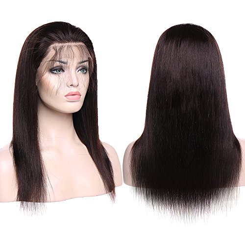 TESS Echthaar Perücke Lace Front Wig Human Hair Braun Wigs 130% Density Remy Haare with Baby Hair #2 Glatt 35cm-148g -
