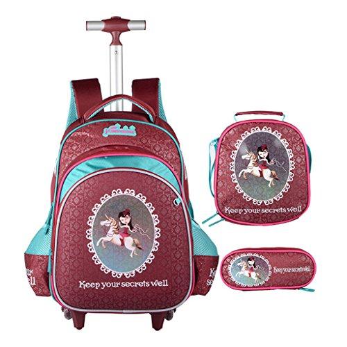 Niños Tres Piezas Trolley Mochila Escolar Bolso - Niña Niño con Ruedas Equipaje De Viaje para Niños con Bolsa Trolley