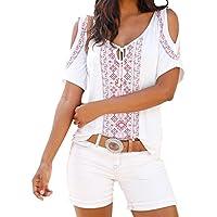 Hevoiok Damen Kurzarm-Shirt Oberteile Sexy Blumendruck Bluse, Neu Frühling Sommer Lässig Kaltes Schulter T Shirt Frauen Locker Gurt Tops (Weiß, XL)
