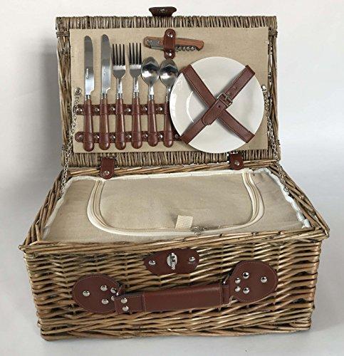 Home-ever Weiden-Picknickkorb für 2 Personen, mit Kühlfach
