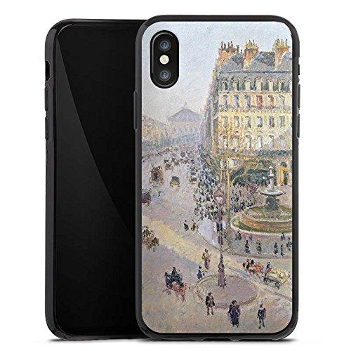 Apple iPhone X Silikon Hülle Case Schutzhülle Camille Pissarro The Avenue de L'Opera Kunst Silikon Case schwarz