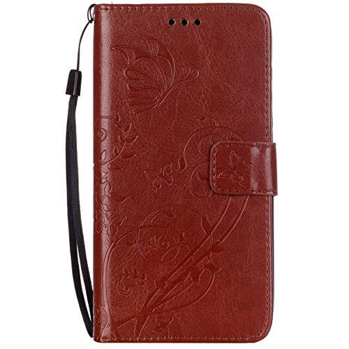 ISAKEN Huawei G8 Hülle, PU Leder Brieftasche Wallet Case Cover Ledertasche Handyhülle Tasche Schutzhülle mit Handschlaufe Standfunktion für Huawei G8 / Huawei GX8 - Blume Schmetterling Braun