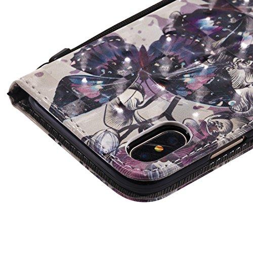 OYIME Custodia in Pelle Per iphone X Cover Libro Portafoglio con Disegno 3D Glitter Lusso Elegante Originale Antiurto Antiscivolo Antigraffio con Cordino Porta Carta Credito e Chiusura Magnetica Inter Farfalla Nera