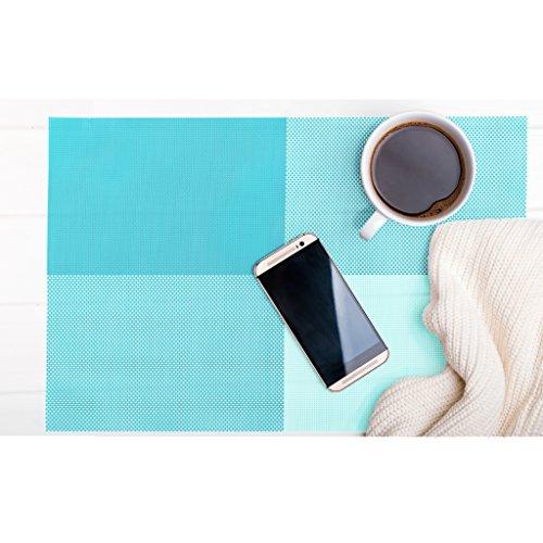 makami Moderne Platzsets Festiva im 4er-Set aus Gewebtem Kunststoff - abwaschbare Tischsets/Platzmatten 45 x 30 cm (Blau-grün) (Karierte Tischdecke, Blau Kunststoff)