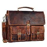 STILORD 'Victor' Vintage Aktentasche Herren Leder moderne Businesstasche für große A4 Aktenordner XL Umhängetasche 15.6 Zoll mit Dreifachtrenner aus echtem Leder, Farbe:kara - cognac