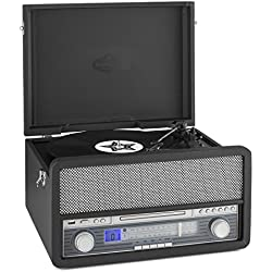 auna Belle Epoque 1907 tocadiscos minicadena retro con Bluetooth (USB, radio FM/AM, reproductor MP3, CD, casete y vinilo, AUX) - negro