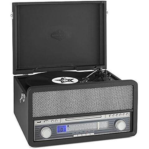 auna Epoque 1907 Impianto stereo multifunzione Vintage Giradischi e altoparlanti integrati (lettore LP, lettore CD, MP3, 2 Casse audio, bluetooth, mangianastri, telecomando) - nero