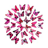 Trada 30 Schmetterling Wandaufkleber Kühlschrank, 3D DIY Aufkleber Wandaufkleber Home Decor Regenbogen Schmetterling Aufkleber Room Decor Wandaufkleber Wallsticker DIY Decor (Hot Pink)