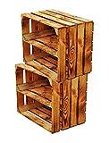 Massive NEUE geflammte Kiste als Schuh- und Bücherregal +++ Obstkiste mit Zwischenbrett +++ Einzeln / 2er SET von BLUMENKÜBELXXL© (Geflammt Längs 2er SET)