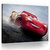 Leinwandbild 100 x 75cm Disney Cars Lightning McQueen - Wandbild für Kinder - Leinwandbilder Leinwand Kunstdruck Kinderzimmer