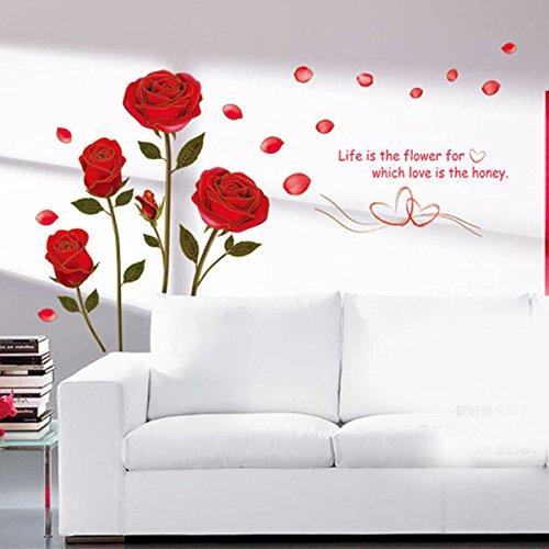 Kicode adesivi da muro 4 modelli di rose rosse romantico rimovibile la vita è il fiore bricolage art removibile decorazione domestica della stanza da letto di soggiorno