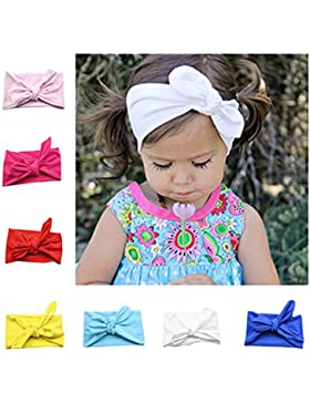 [Patrocinado]Niña de diademas, Flyfish 8-Pack assorted-color bebé niñas niños conejo lazo nudo turbante Diadema Diadema Headwrap...