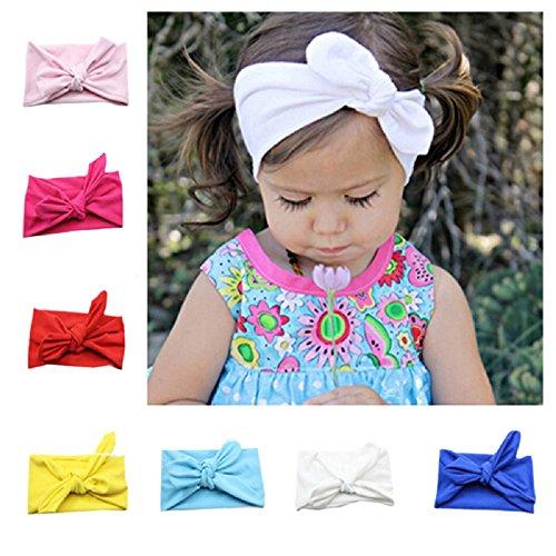 Niña de diademas  Flyfish 8 Pack assorted color bebé niñas niños conejo lazo nudo turbante Diadema Diadema Headwrap Headwear para fotografía Props  disfraz  fiesta