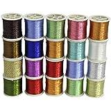 Set de 20 Carretes de Hilo de Poliéster en Pack de Surtido de Colores Brillantes Metalizados de CurtzyTM.