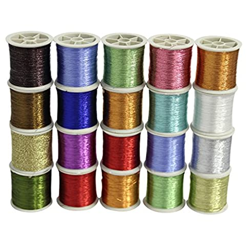 20 PC Metallic Glittery Polyester Sewing Thread Set by Curtzy - All Purpose Assorted Colours Embroidery Threads Spools Pack - Ideal for Machine Sewing or Hand Needle Work - Best Kit Women Men &