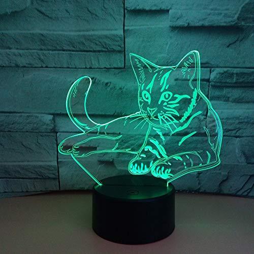 Bunte 3D-Volt-Katzenlichter 3D-Lichter Illusionslichter LED-Lichter Visuelle Stereolichter Touch-USB-Schreibtischleuchten bunt: Touch-Schwarz-Basis + Fernbedienung 5000 oder mehr