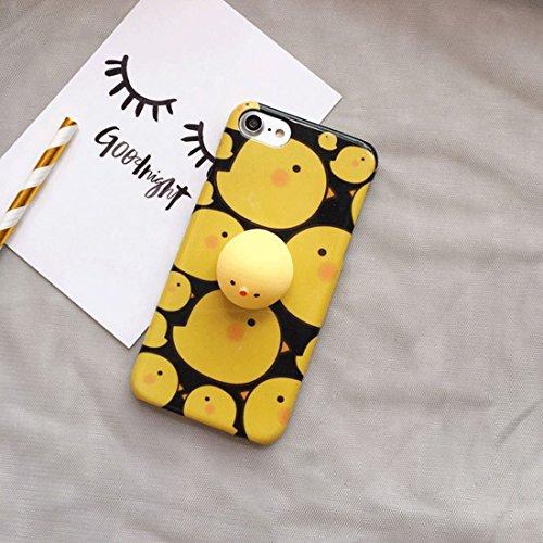 Phone Case & Hülle Für iPhone 6 Plus & 6 s Plus schwarzer Hintergrund 3D schöne kleine Huhn-Muster Squeeze Relief IMD Verarbeitung Squishy Dropproof schützende Rückseite Case ( Color : Black ) Yellow