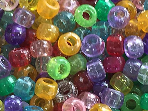50 GLITTER PONY BEADS mixed colours / silver glitter 9 x 6 mm Loom bands 00 Band