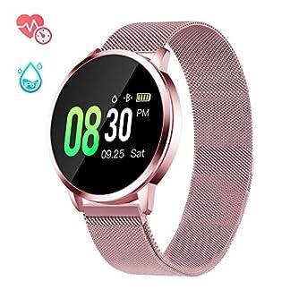 Smartwatch Mujer Rosa Impermeable Reloj Inteligente Elegante Fitness con Monitor Impermeable IP67 con Monitor de Sueño Pulsómetros Podómetro Contador de Caloría Compatible con iOS Android