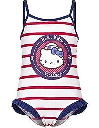 """Hello Kitty Badeanzug """"Sailor !"""" rot gestreift mit tollem Druck"""