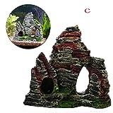 Hunpta mountain View acquario Rockery nascondere cave albero Fish Tank ornamento decorazione
