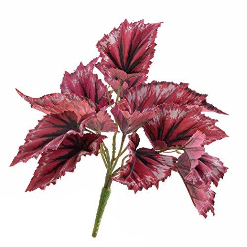 artplants Künstliche Blattbegonie Benita auf Steckstab, 12 Blätter, rot 22 cm- Kunst Schiefblatt/Deko Begonien