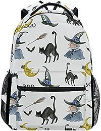 COOSUN Bruja de Halloween Mochila Casual Escuela Mochila bolsa de viaje Multicolor