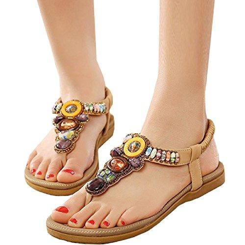Minetom Damen Sommer Bohemian Schuhe Y-Strap Thong Sandalen Sandaletten Zehentrenner ( Blau EU 38 ) GkCbReJf