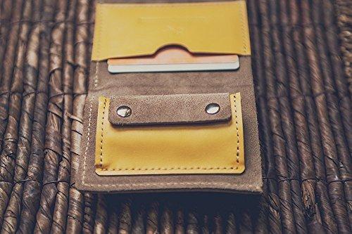 Portafoglio in pelle per uomini donne. Portafoglio minimalista, clip di denaro. Borsa (grey) yellow