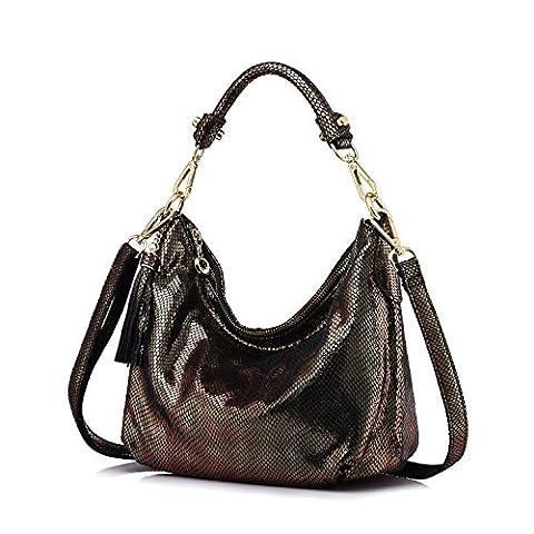 Realer Women Handbag Small Leather Hobos Messenger Bags with Tassels Dark Brown