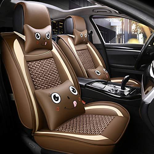 Ice Silk Autositzbezug Leder für BMW E46 E60 E90 Audi A3 A4 B8 Ford Focus Fiat Skoda Rapid Zubehör Car Styling,Brown (Ford F150 2007 Zubehör)