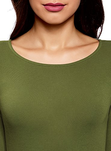 oodji Collection Donna T-Shirt con Maniche Lunghe (Pacco di 2) Verde (6900N)
