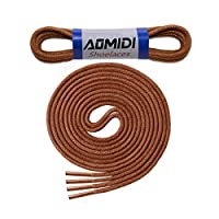 "Round Waxed Shoelaces (2 pair) - for Oxford Shoes Round Dress Shoes Boots Leather Shoe Laces (40"" inches (101 cm), Light Brown)"