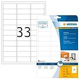 HERMA 8837 Universal Etiketten für Inkjet Drucker DIN A4 (63,5 x 25,4 mm, 25 Blatt, Papier, matt) selbstklebend, bedruckbar, permanent haftende Aufkleber, 825 Klebeetiketten, weiß