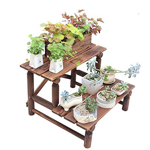Jardinière de balcon sur pied Sol en bois massif Étagère à fleurs succulente Escalier à plusieurs étages Porte-pots