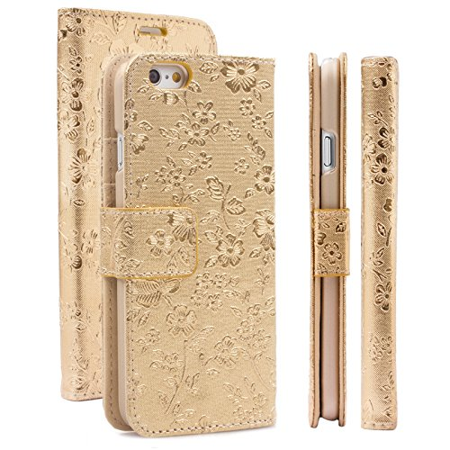 ompatibel mit Apple iPhone 6/6S + Plus (5.5 Zoll) | Maraba Tasche Bouquet Gold | Premium Kartenfach Standfunktion Stand Leder Schutz Etui Flip Case Booklet Hülle Wallet Blumen ()